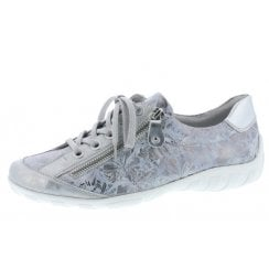 R3435-42 Silver Leather Flat Lace Up Trainer Style Shoe