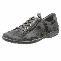 Remonte R3435-45 Grey Flat Trainer Style Shoe With Laces And Side Zip