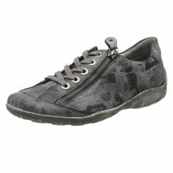 R3435-45 Grey Flat Trainer Style Shoe With Laces And Side Zip