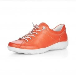 R3515-33 Orange Leather Flat Lace Up Trainer Style Shoe.