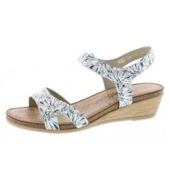 R4456-81 White/Navy Wedge Sandal With Velcro Straps.