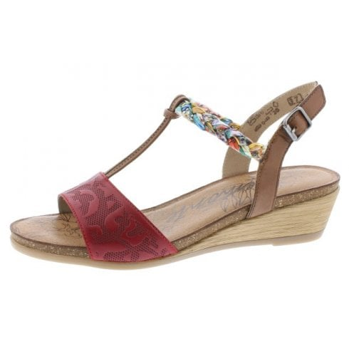 Remonte R4459-33 Red/Multi Coloured Leather Wedge Velcro Sandal.