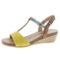 R4459-68 Yellow/Multi Coloured Leather Wedge Velcro Sandal.