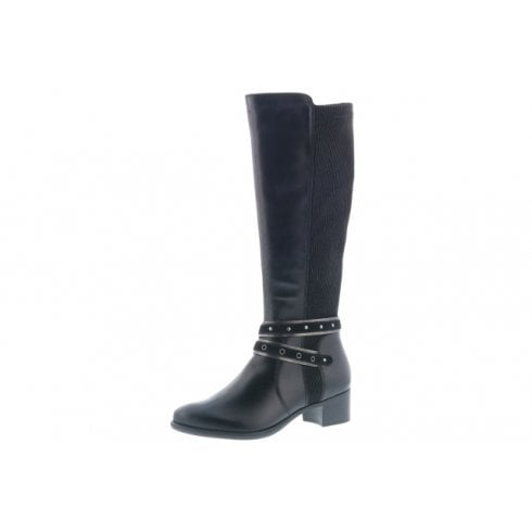 Remonte R5178-01 Black Leather Heeled Long Boot With Side Zip
