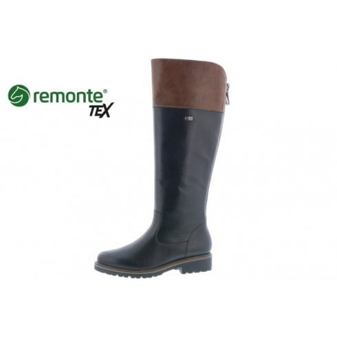 Remonte R6581-02 Black Leather Gortex Long Flat Boot