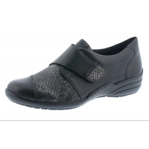 Remonte R7628-02 Black leather flat velcro fastening shoe