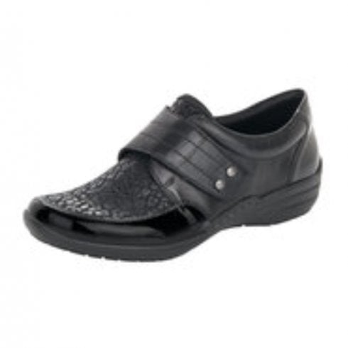 Remonte R7632-02 Black/Patent Leather And Synthetic Flat Velcro Shoe
