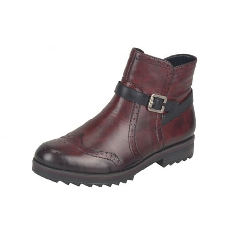 Remonte Red leather ankle boot with side zip