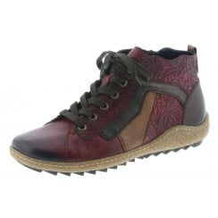 Red leather flat boot with laces and side zip