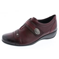 Red leather flat velcro fastening shoe