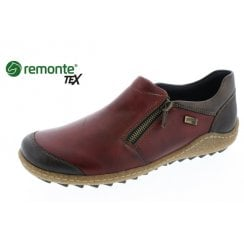 Red leather gortex flat slip on shoe