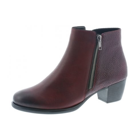 Remonte Red Leather Heeled Ankle Boot With Two Side Zips