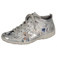 Silver/Floral leather flat lace up trainer style ankle boot with side zip