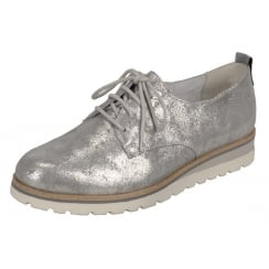 Silver/grey leather flat lace up shoe
