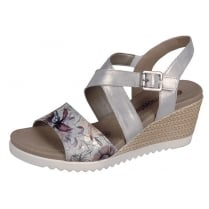 Silver/White/Floral wedge velcro fastening sandal