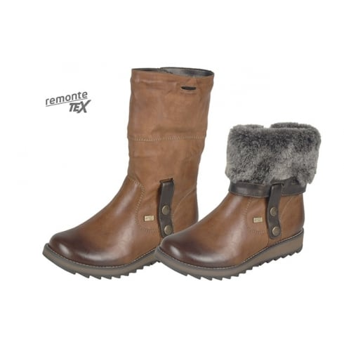 Remonte Tan Gortex flat boot with side zip and fur trim