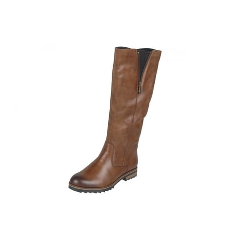 Remonte Tan leather full length flat heeled boot