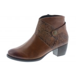 Tan leather heeled ankle boot with side zip