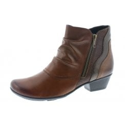 Tan Leather Heeled Boot With Ruched Front And Two Side Zips