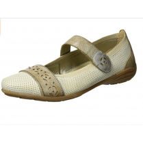 Taupe leather flat velcro shoe