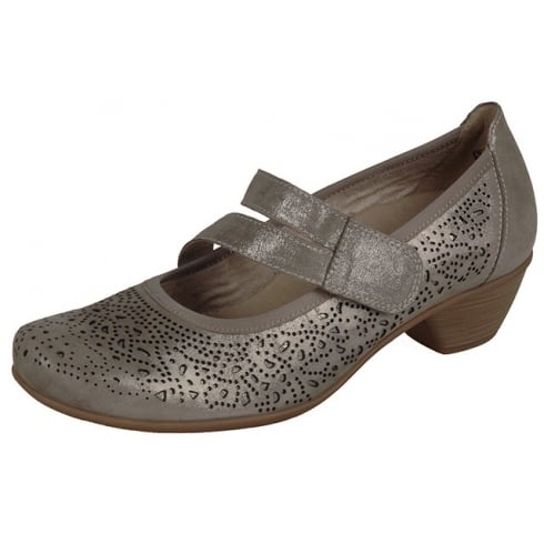 Remonte Taupe metallic leather heeled shoe with velcro strap