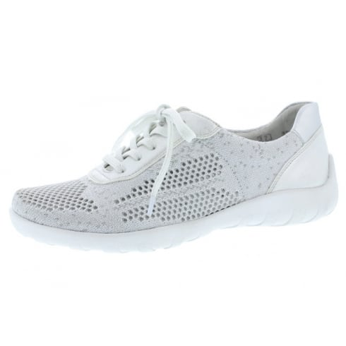 Remonte White/silver flat lace up trainer