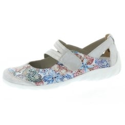 White/silver floral flat mary jane style shoe