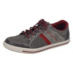 19035-43 Grey and red stripe leather flat trainer shoe