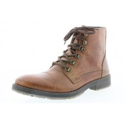 33302-25 Brown Leather Flat Lace Up Boot With Side Zip