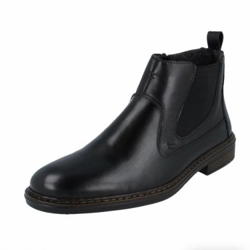 Rieker 37662-00 Black Leather Flat Boot With Side Zip