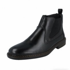 37662-00 Black Leather Flat Boot With Side Zip