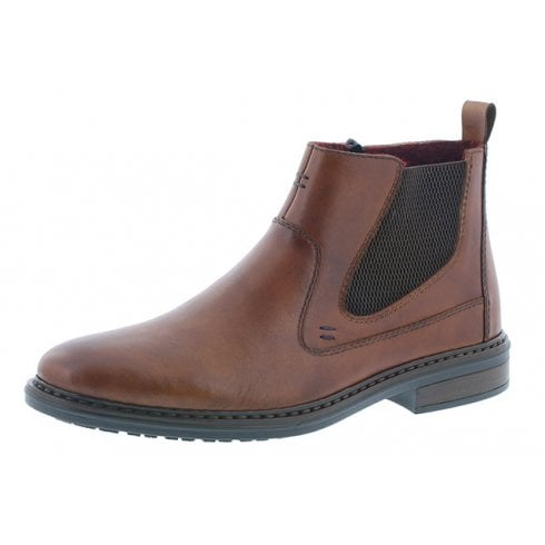Rieker 37662-24 Brown Leather Flat Boot With Side Zip