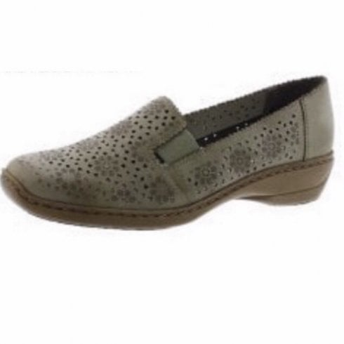 Rieker 413Q5-62 Beige Leather Flat Slip On Loafer Shoe.