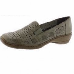 413Q5-62 Beige Leather Flat Slip On Loafer Shoe.