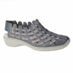 413V8-12 Blue/Grey Weave Leather Flat Shoe/Sandal