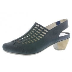 41731-14 Blue Leather Heeled Sling Back Sandal.