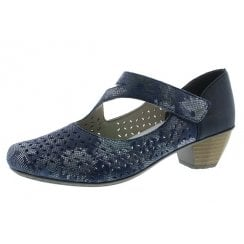 41746-90 Blue Low Heel Mary Jane Style Shoe
