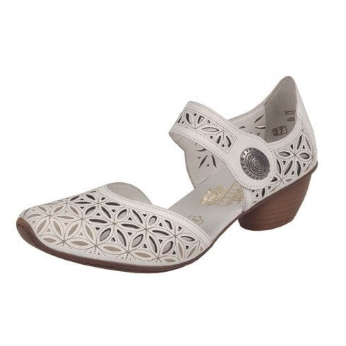 Rieker 43726-80 White Leather Heeled Shoe With Ankle Strap