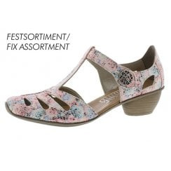 43750-90 Floral Muiticoloured Heeled T-Bar Style Shoe.