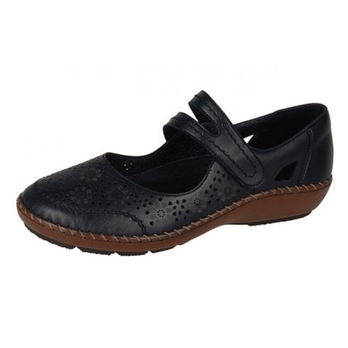 Rieker 44875-00 Black Leather Flat Shoe With Velcro Strap