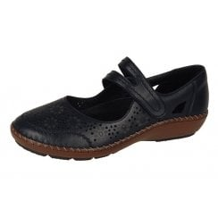 44875-00 Black Leather Flat Shoe With Velcro Strap
