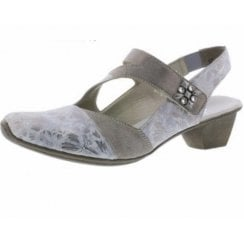 49787-90 Grey/Silver Heeled Slingback Shoe With Velcro Strap