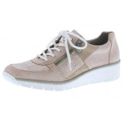 53714-31 Pink Leather Wedge Trainer Style Shoe With Side Zip.
