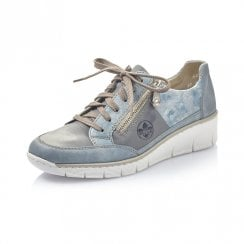 53716-12 Blue Leather Wedge Trainer With Laces And Zip