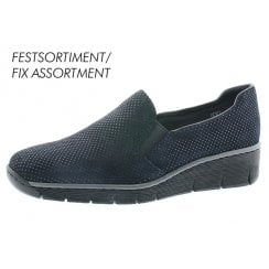 53766 -18 Navy Blue Leather Slip On With Platform Sole