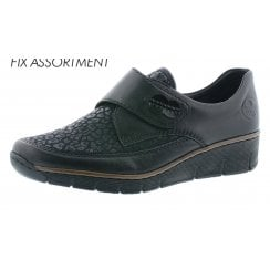 537C0-00 Black leather velcro fastening shoe with platform sole