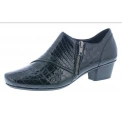 53851-01 Black leather croc heeled shoe with side zip