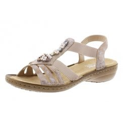 60855-31 Pink Flat Elasticated Pull On Sandal