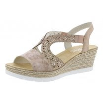 61916-31 Rose Pink Wedge Elasticated Pull On Sandal