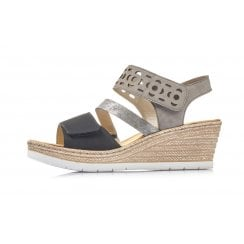 619D1-00 Black /Grey Wedge Sandal With Velcro Straps
